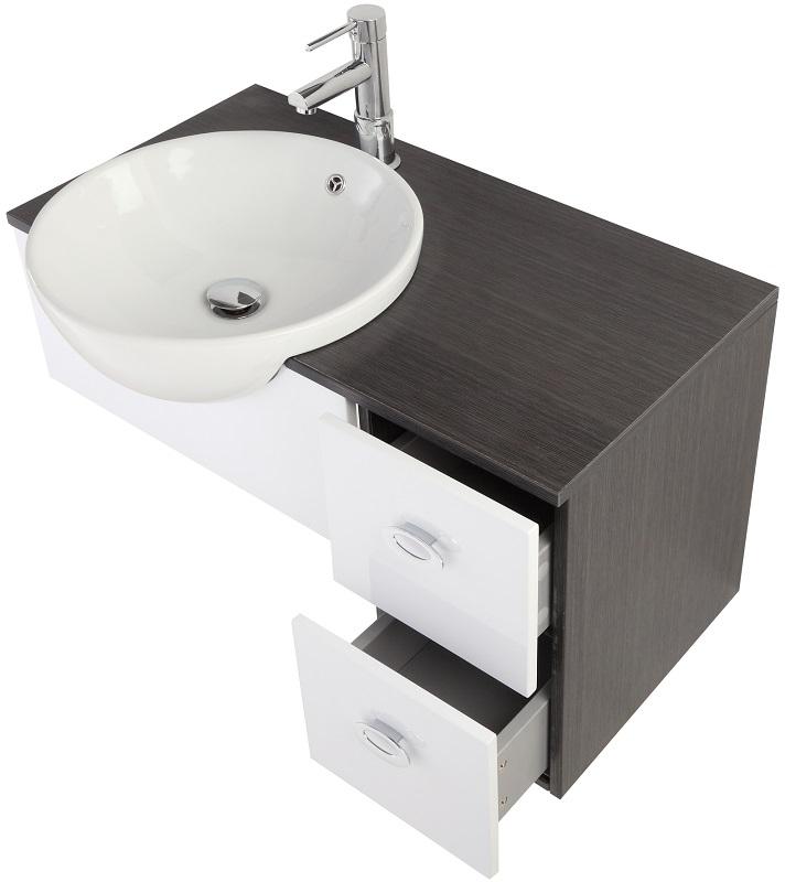 Mobile composizione bagno grigio e bianco 80 cm feridras - Mobile bagno 80 cm ...