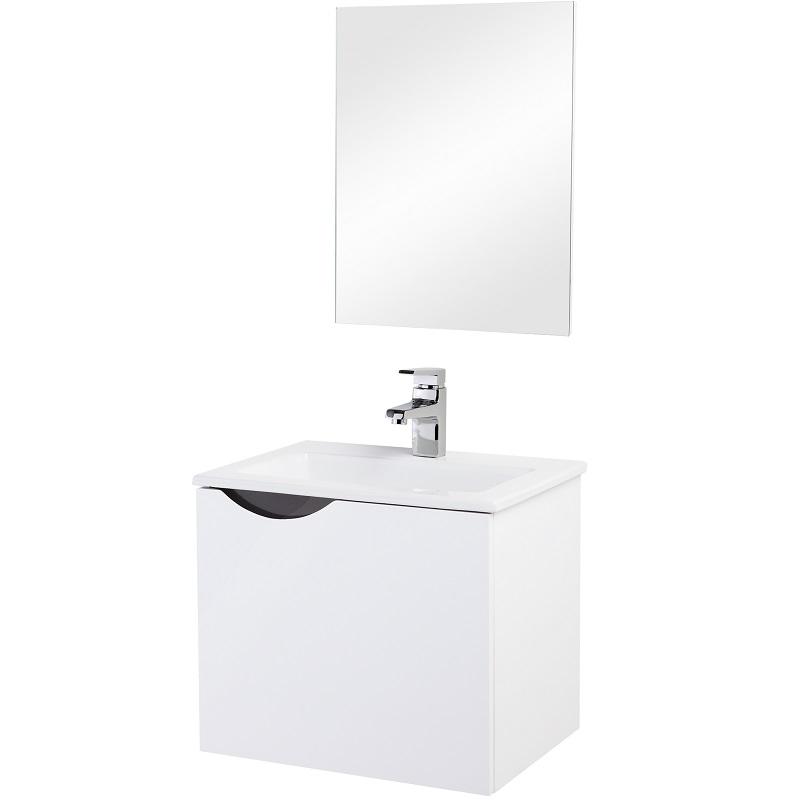 Mobile composizione bagno bianco e grigio 50 cm feridras - Bagno grigio e bianco ...