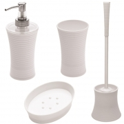 Set 4 pz dispenser portaspazzolino portasapone portascopino in abs bianco Feridras 506001