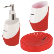 Set 3 pz dispenser portaspazzolino e portasapone in abs in vari colori Feridras 512013